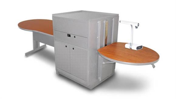 AV Carts Marvel Keyhole Table with Media Center, Adjustable Height Platform, Steel Doors - (Cherry Laminate)