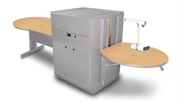 AV Carts Marvel Keyhole Table with Media Center, Adjustable Height Platform, Steel Doors - (Kensington Maple Laminate)