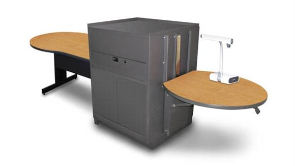 AV Carts Marvel Keyhole Table with Media Center, Adjustable Height Platform, Steel Doors - (Oak Laminate)