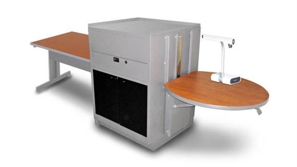 AV Carts Marvel Rectangular Table with Media Center, Adjustable Height Platform, Acrylic Doors - (Cherry Laminate)