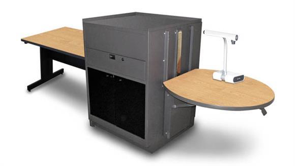 AV Carts Marvel Rectangular Table with Media Center, Adjustable Height Platform, Acrylic Doors - (Kensington Maple Laminate)
