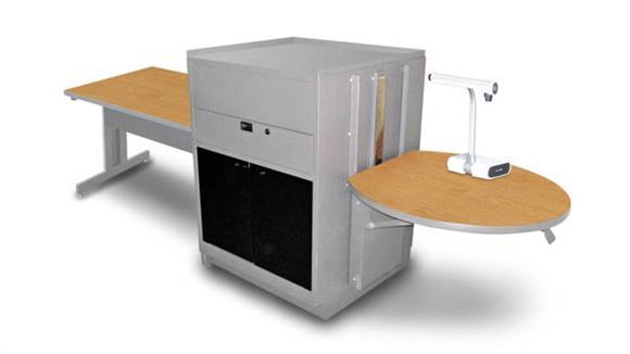 AV Carts Marvel Rectangular Table with Media Center, Adjustable Height Platform, Acrylic Doors - (Oak Laminate)
