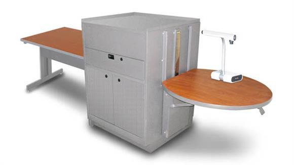 AV Carts Marvel Rectangular Table with Media Center, Adjustable Height Platform, Steel Doors - (Cherry Laminate)
