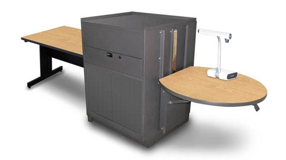 AV Carts Marvel Rectangular Table with Media Center, Adjustable Height Platform, Steel Doors - (Kensington Maple Laminate)
