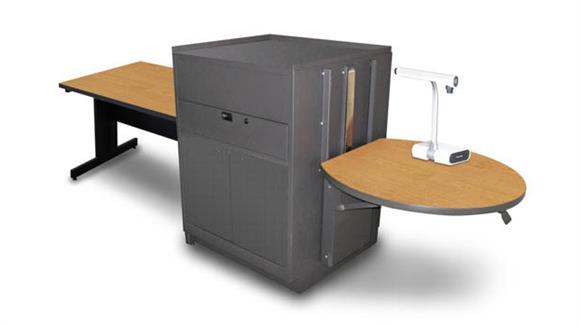 AV Carts Marvel Rectangular Table with Media Center, Adjustable Height Platform, Steel Doors - (Oak Laminate)