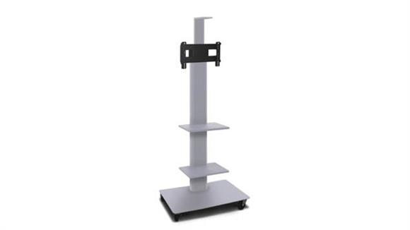 """AV Carts Marvel TV/Monitor Stand and Mount with Two Equipment Shelves, a Camera Shelf, and AmpliVox Headset Microphone (holds 26"""" - 32"""" TV)"""