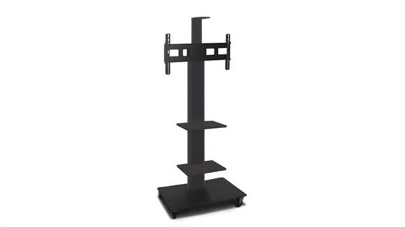 """AV Carts Marvel TV/Monitor Stand and Mount with Two Equipment Shelves, Camera Shelf, and AmpliVox Headset Microphone (holds 35"""" - 55"""" TV)"""