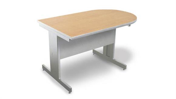 Computer Tables Marvel Marvel Vizion Peninsula Laminate Top Side Table with Modesty Panel - (Kensington Maple Laminate)