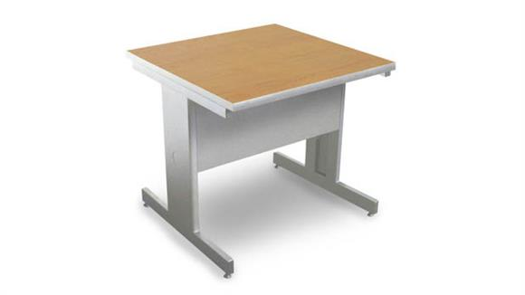 Computer Tables Marvel Marvel Vizion Rectangular Laminate Top Side Table with Modesty Panel - (Oak Laminate)