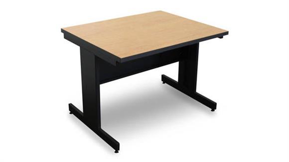 Computer Tables Marvel Marvel Vizion Rectangular Laminate Top Side Table with Modesty Panel - (Kensington Maple Laminate)