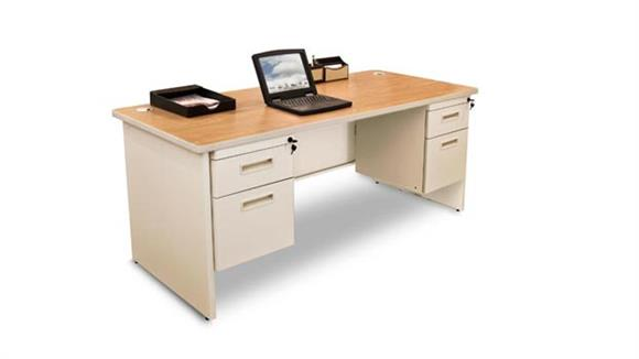 "Steel & Metal Desks Marvel 60"" x 30"" Double Pedestal Steel Desk"