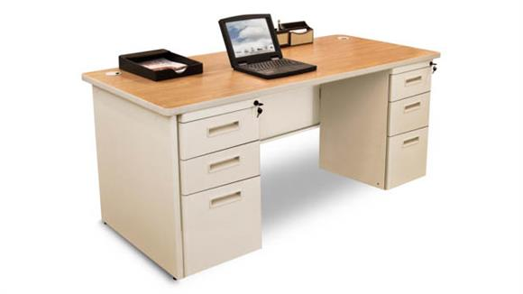 "Computer Desks Marvel Double Full Pedestal Desk, 60""W x 30""D"
