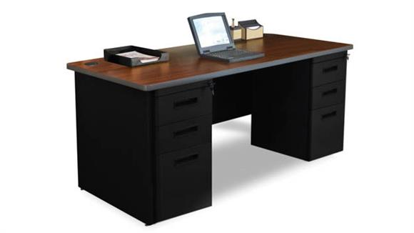 "Computer Desks Marvel Double Full Pedestal Desk, 66""W x 30""D"
