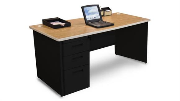"Computer Desks Marvel Single Full Pedestal Desk, 66""W x 30""D"
