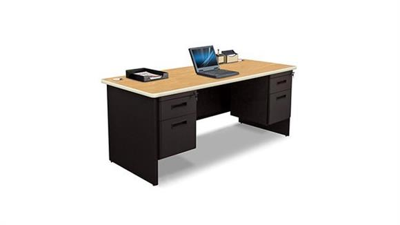 "Steel & Metal Desks Marvel 72"" x 30"" Double Pedestal Steel Desk"
