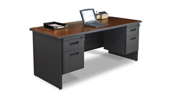 "Steel & Metal Desks Marvel 72"" x 30"" Double Pedestal Steel Desk"