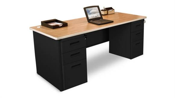 "Computer Desks Marvel Double Full Pedestal Desk, 72""W x 30""D"
