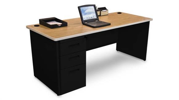 "Computer Desks Marvel Single Full Pedestal Desk, 72""W x 30""D"