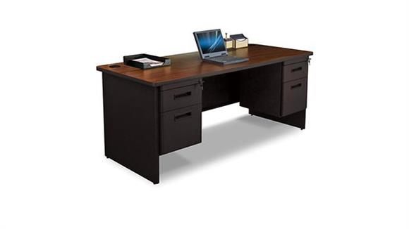"Steel & Metal Desks Marvel 72"" x 36"" Double Pedestal Steel Desk"