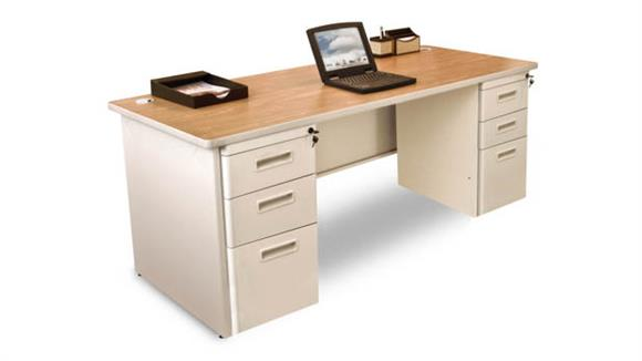 "Computer Desks Marvel Double Full Pedestal Desk, 72""W x 36""D"