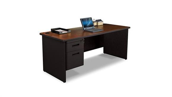 "Steel & Metal Desks Marvel 72"" x 36"" Single Pedestal Steel Desk"