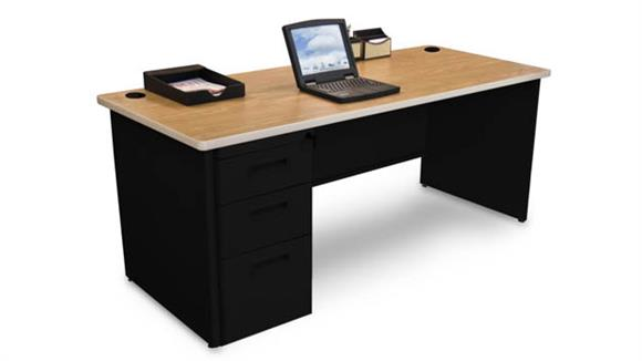 "Computer Desks Marvel Single Full Pedestal Desk, 72""W x 36""D"