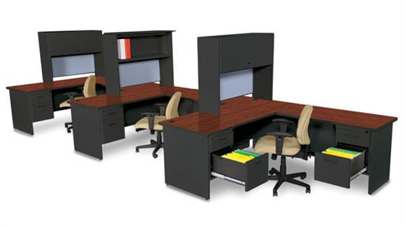 Workstations & Cubicles Marvel 3 Person Workstation with Hutches
