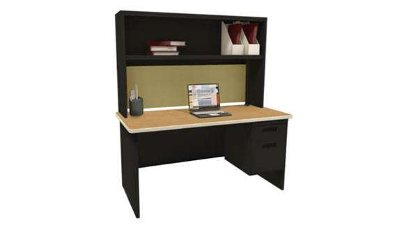 "Computer Desks Marvel Single File Desk with Storage Shelf, 60""W x 30""D"