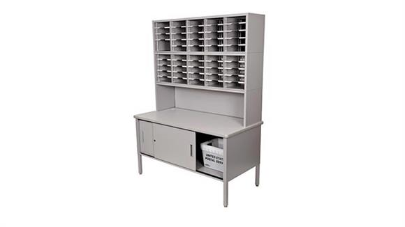 Mail Sorters Marvel 50 Adjustable Slot Literature Organizer with Riser and Cabinet