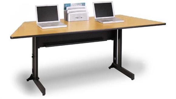 "Folding Tables Marvel 60"" x 24"" Trapezoidal Folding Training Table"