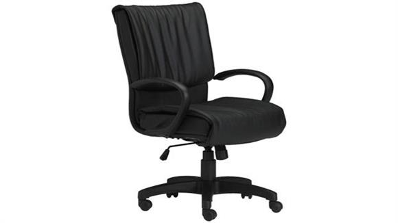 Office Chairs Mayline Black Leather Conference Chair with Loop Arms