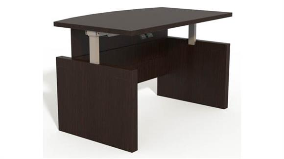 "Adjustable Height Desks & Tables Mayline Height-Adjustable 72"" Bow Front Desk with Base"
