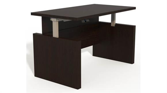 "Adjustable Height Desks & Tables Mayline Height-Adjustable 60"" Straight Front Desk with Base"