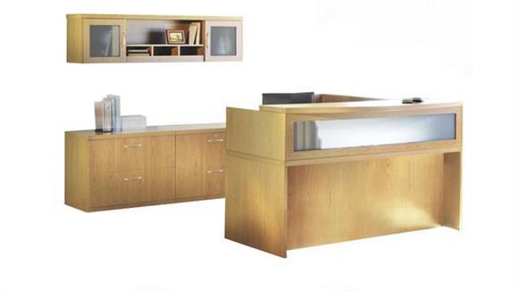 Reception Desks Mayline L Shaped Reception Desk with Additional Storage