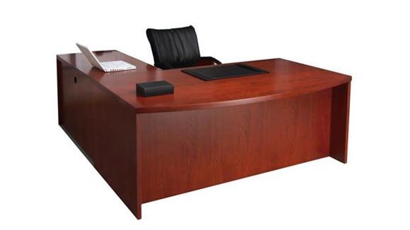 L Shaped Desks Mayline Double Pedestal Bow Front L Shaped Desk