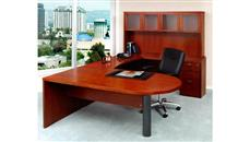 U Shaped Desks Mayline U Shaped Single Pedestal Peninsula Desk with Hutch