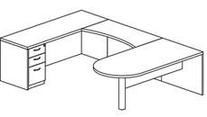 U Shaped Desks Mayline U Shaped Single Pedestal Peninsula Desk