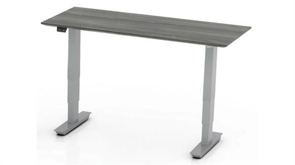 "Adjustable Height Desks & Tables Mayline 48"" Non-Handed Straight Bridge with 3-Stage Height-Adjustable Base"
