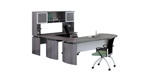 "U Shaped Desks Mayline 63"" U Shaped Desk with Extension and Hutch"