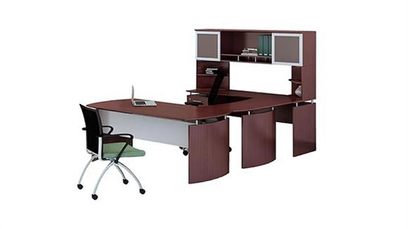 "U Shaped Desks Mayline 63"" U Shaped Desk with Hutch"