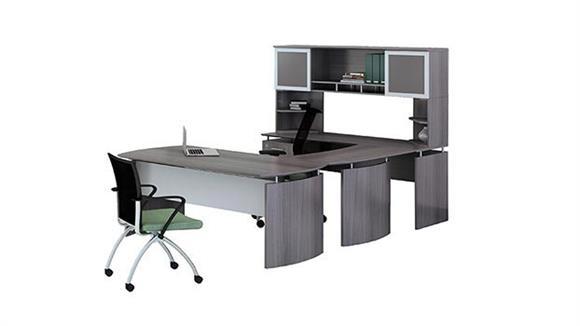 "U Shaped Desks Mayline 72"" U Shaped Desk with Hutch"