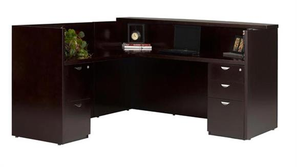 Reception Desks Mayline L Shaped Wood Veneer Reception Desk