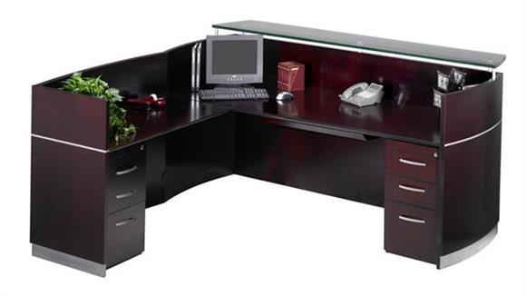 Reception Desks Mayline Reception Station with Two Pedestals
