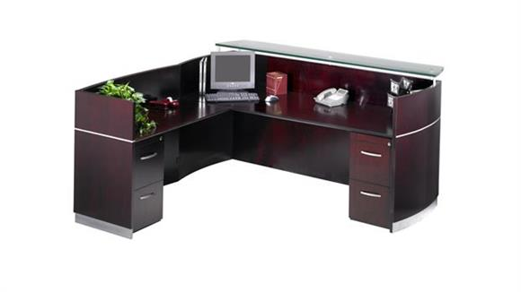 Reception Desks Mayline Double Pedestal L Shaped Napoli Reception Station