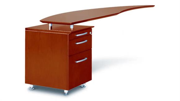 Desk Parts & Accessories Mayline Curved Desk with Left Return and Pedestal