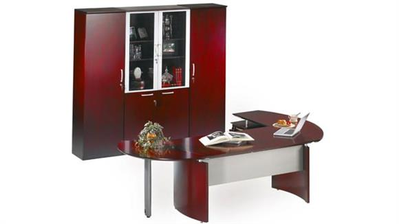"Executive Desks Mayline 72"" Napoli Desk with Left Return, Extension and Wardrobe with Storage"