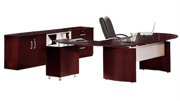 """Executive Desks Mayline 72"""" Napoli Desk with Right Return, Pedestal, Extension and Low Wall Cabinet"""