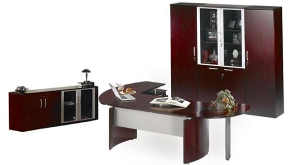 "Executive Desks Mayline 72"" Napoli Desk with Right Return, Pedestal, Extension and Wardrobe with Storage"