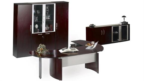 "Executive Desks Mayline 72"" Napoli Desk with Left Return, Pedestal, Extension and Wardrobe with Storage"