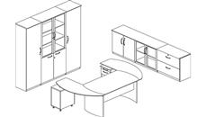 """Executive Desks Mayline 72"""" Napoli Desk with Curved Returns and Additional Storage"""